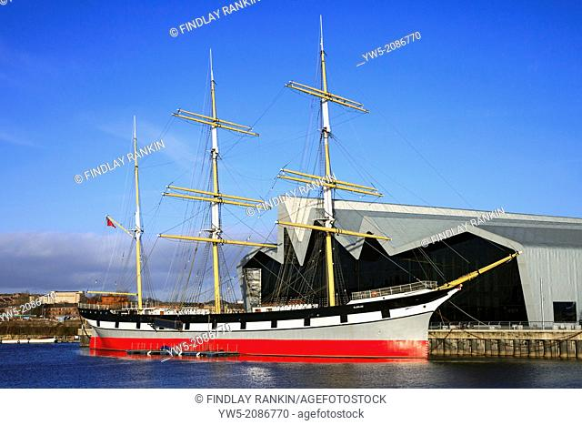 Glenlee 3 mast steel hulled cargo sailing ship, Clyde built in 1896, now berthed at the Riverside Museum, Glasgow, Strathclyde, Scotland