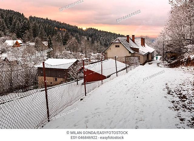 Sunset view of Cremosne village, Turiec region, Slovakia.