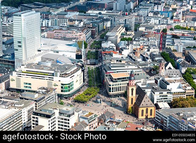 Frankfurt, Germany - September 2, 2015: Skyline of Frankfurt city with a view of the Zeil main shopping market street in Frankfurt, Germany