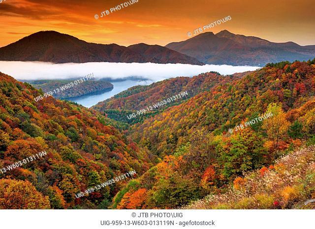 Japan, Tohoku Region, Fukushima Prefecture, Kitashiobara, Urabandai, View of autumn in Mount Bandai