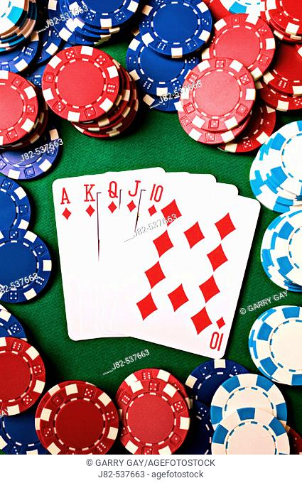 Poker chips and card