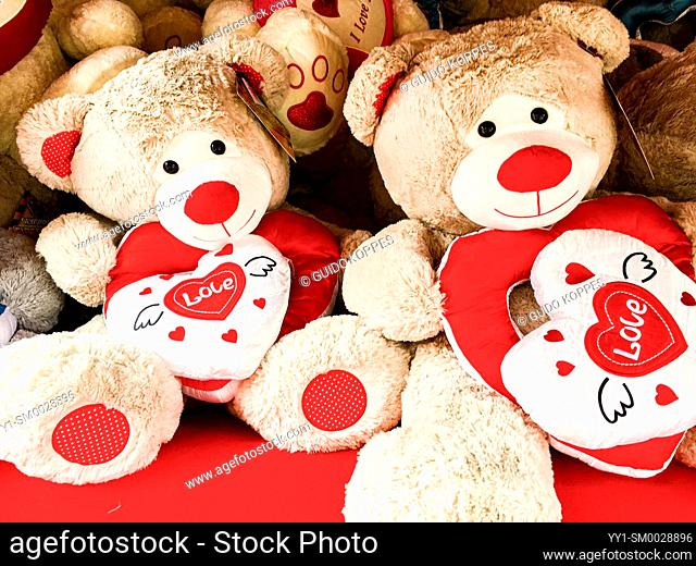 Tilburg, Netherlands. Huge collection of Love Bears to be won on the 2020 annual carnival