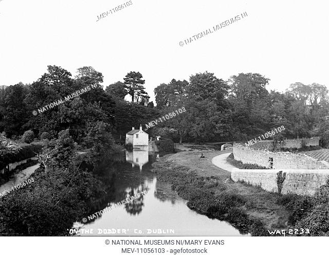 On the Dodder', Co. Dublin - a view of a river and lockhouse. (Location: Republic of Ireland; County Dublin)