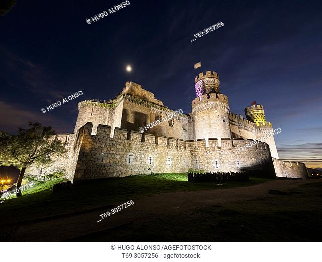 Castle at night. Manzanares El Real, Madrid province, Spain