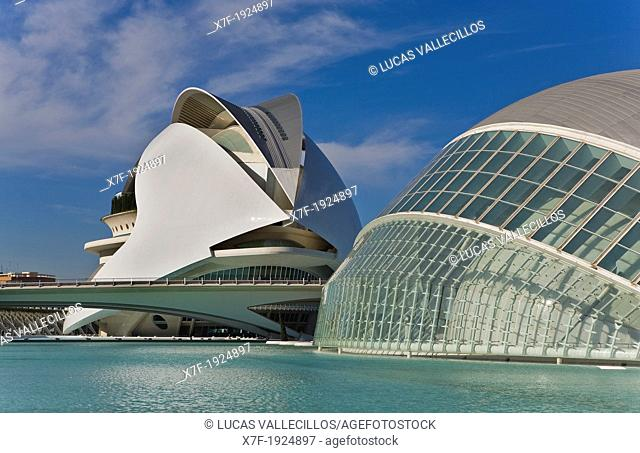 At right Hemisferic and at left Palacio de las Artes Reina Sofía, City of Arts and Sciences, by S  Calatrava  Valencia  Spain