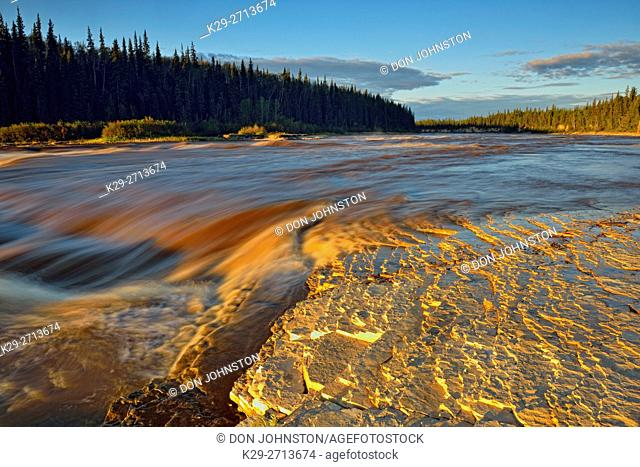 Hay River at sunrise, above Alexandra Falls, Twin Falls Territorial Park, Northwest Territories, Canada