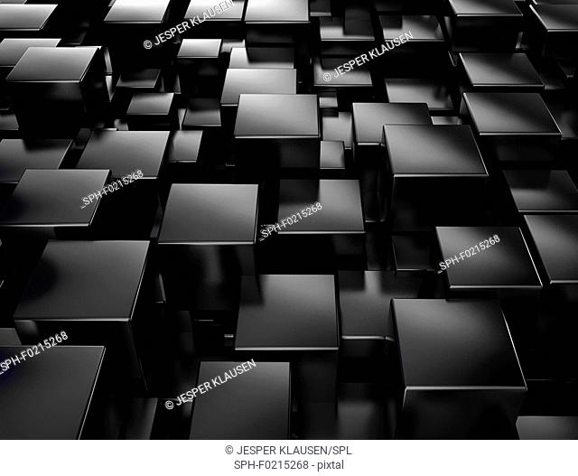 Black cubes, illustration