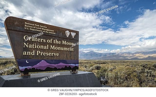 Entry sign at Craters of the Moon National Monument and Preserve, Idaho, USA