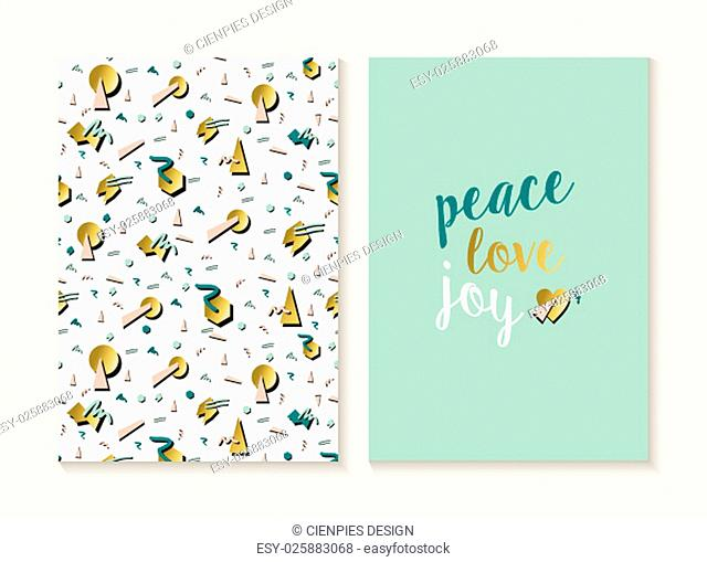 Merry Christmas and Happy new year card template set with vintage 80s style seamless pattern and trendy holiday text in gold metallic color