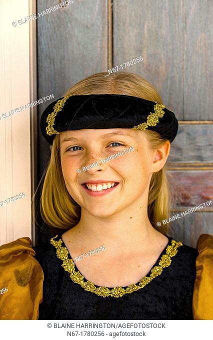 Preteen girl dressed in medieval costume, Cedar City, Utah USA  Cedar City is home to the Tony Award-winning Utah Shakespeare Festival