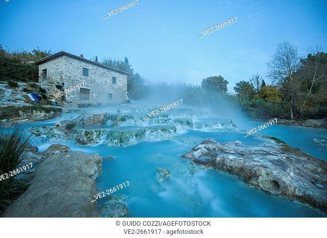 Italy, Toscana (Tuscany), Manciano. Saturnia, thermal spring waterfall