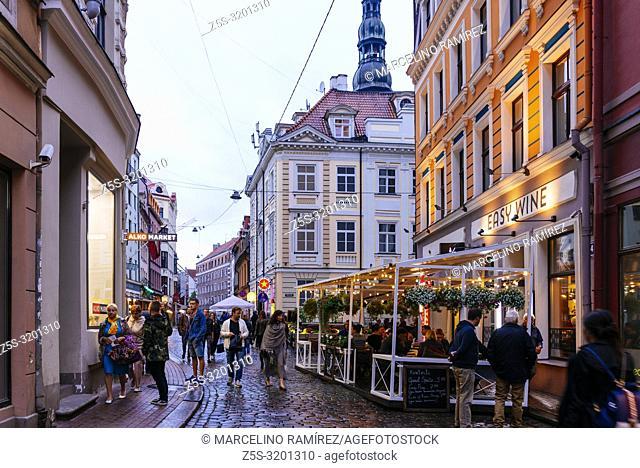 Riga Old City at nightfall. Riga, Latvia, Baltic states, Europe
