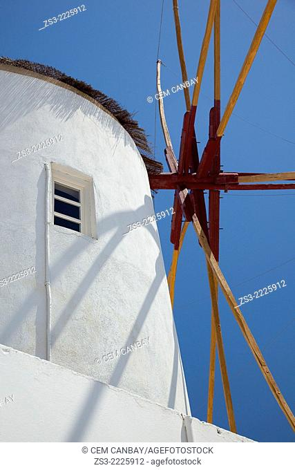 Close-up shot of a windmill, Oia town, Santorini, Cyclades Islands, Greek Islands, Greece, Europe