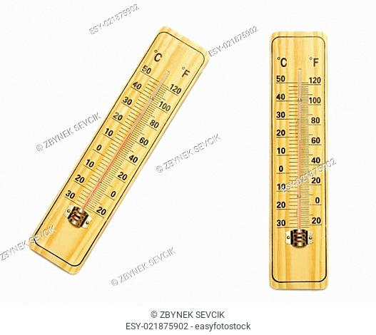 A wooden thermometer