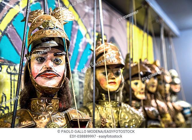 Original Pupo Siciliano (Sicilian puppets, Italy). The Sicilian puppets theatre is UNESCO Heritage