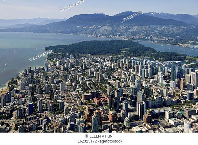 Aerial view of downtown and stanley park in the west end in summer;Vancouver british columbia canada