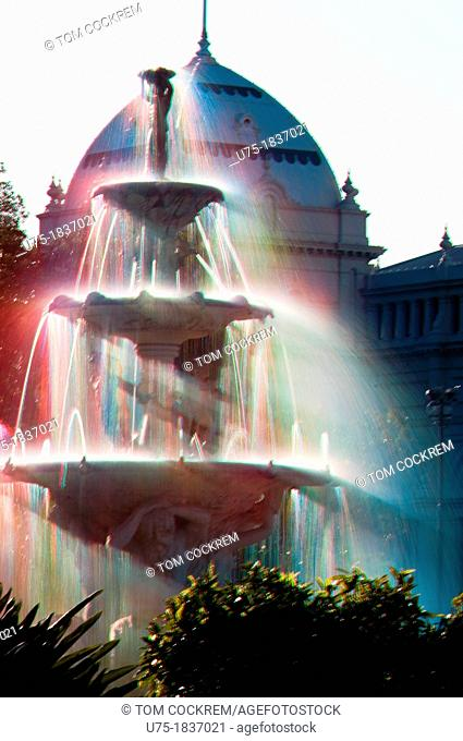 fountain and exhibition building at carlton gardens, carlton, victoria, australia
