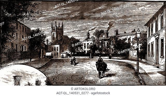 Street in Staines, UK, engraving 1882 - 1884