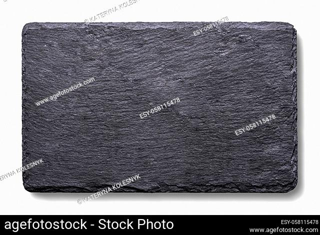 Piece of black slate isolated on a white background
