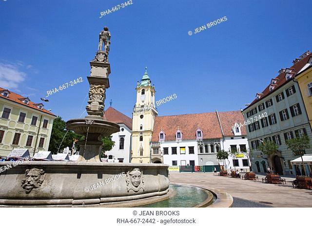 Main Square Hlavne namestie, Old Town, Bratislava, Slovakia, Europe