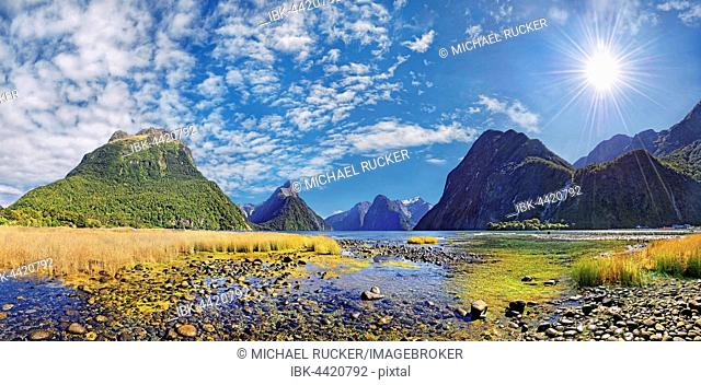 Panorama of Milford Sound, Mitre Peak, Sunshine, Fiordland National Park, Te Anau, South Island, New Zealand