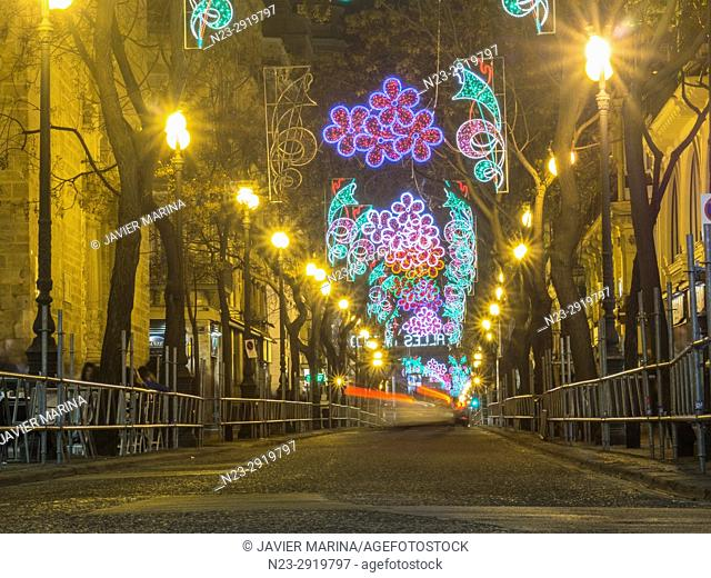 San Vicente street decorated with lights, Fallas 2017, Valencia, Spain