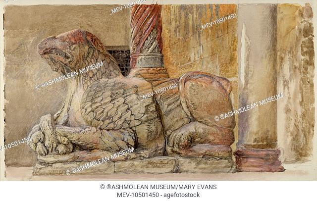 The gryphon bearing the north Shaft of the west entrance of the Duomo, Verona. John Ruskin
