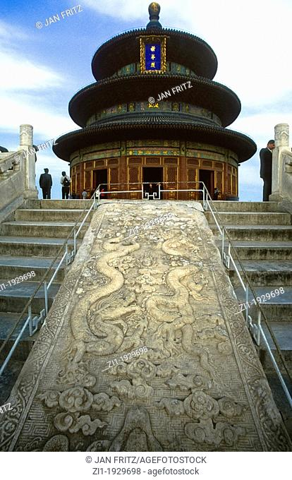 Monument 'the Temple of Heaven' with huge carved stone, Beijing