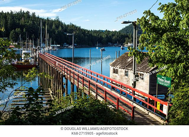 a pier and old building near Pender Harbour, Sunshine Coast, British Columbia, Canada