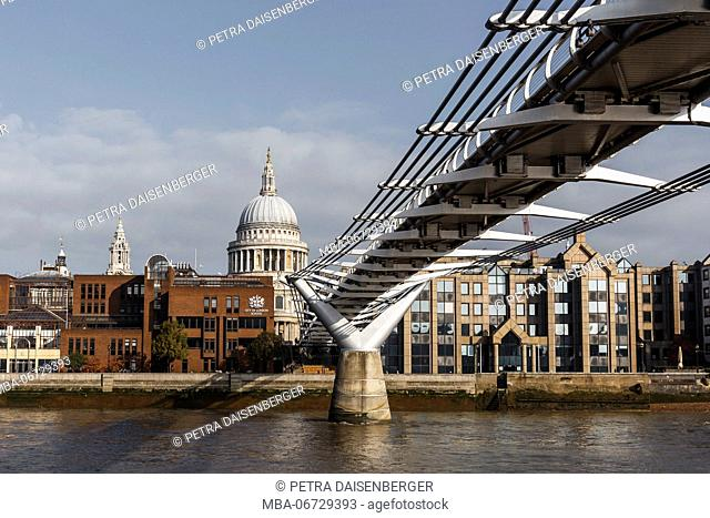 The Thames with view to the millennium Bridge and the St. Paul's Cathedral in London, England, Great Britain