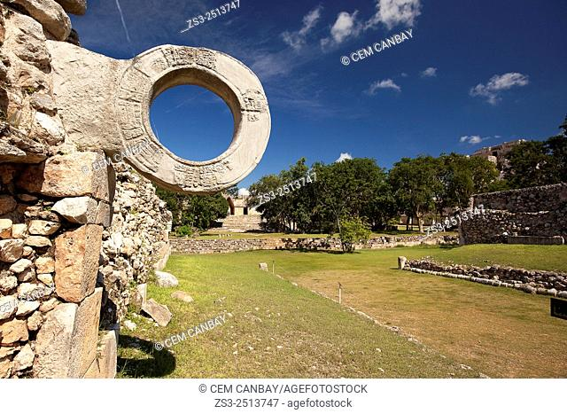 Detail from the ball court in prehispanic Mayan city of Uxmal Archaeological Site, Yucatan Province, Mexico, North America