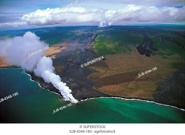Aerial View of Kilauea Volcano With Active Pu'u O'o Vent and Lava Entering the Pacific Ocean