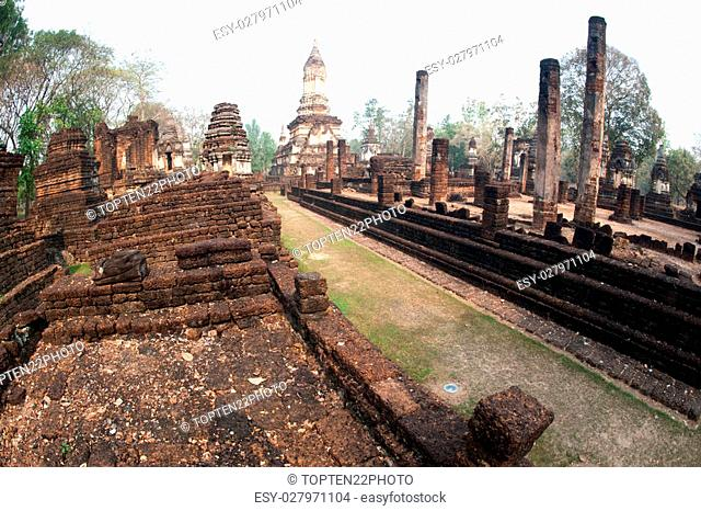Ancient pagoda in Wat Jed Yod in Si Satchanalai historical park,Sukhothai city,North of Thailand