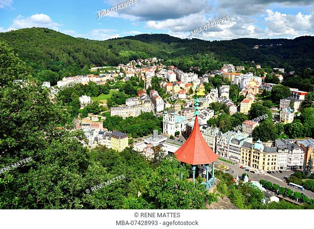 Czech republic, west Bohemia, historic old town of Karlsbad, Karlovy Vary, public baths city, Marie Madeleine church (Sv Mari Magdaleny) and Vridlo spring...