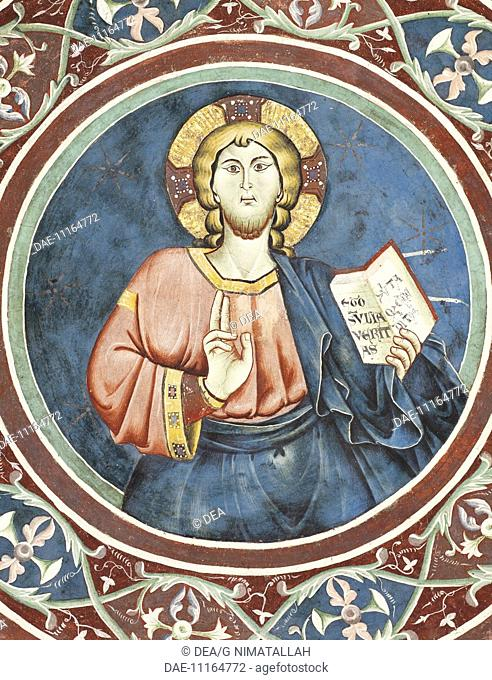 Figure of Christ, detail of a 13th century fresco of the first vault of the Lower Church of Sacro Speco Monastery, Subiaco. Italy, 13th century