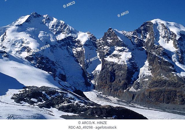 Alps peaks Engadin Switzerland peaks: Piz Bernina with Biancograt Piz Prievlus and Piz Morteratsch Graubunden