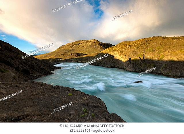 Landscape view of a rushing river in a narrow gorge. Torres del Paine National Park, Patagonia, Chile