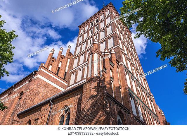 The concathedral basilica of Saint James the Apostle on the Old Town in Olsztyn city in Warmian-Masurian Voivodeship of Poland