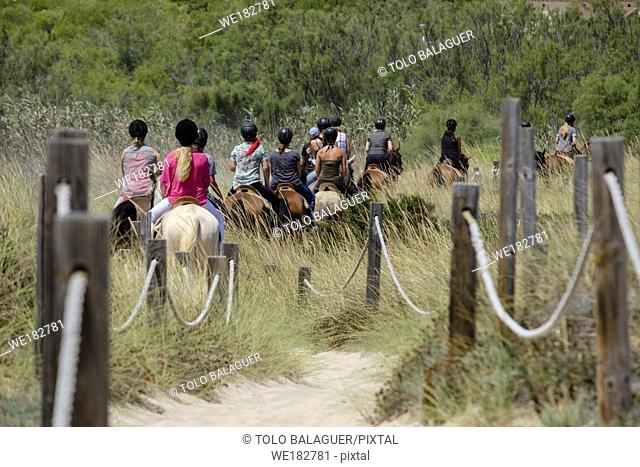 escursion a caballo por las dunas, Son Serra de Marina ,Mallorca, balearic islands, Spain