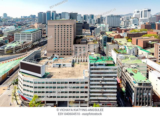 Aerial view of Seoul myeongdong Downtown cityscape in South Korea