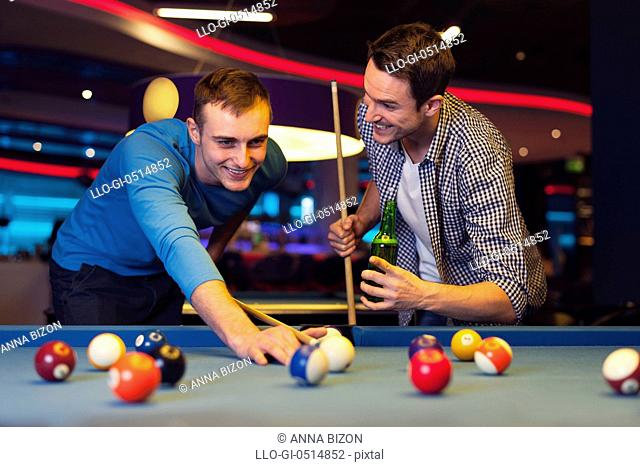 Male evening in billiard club. Rzeszow, Poland