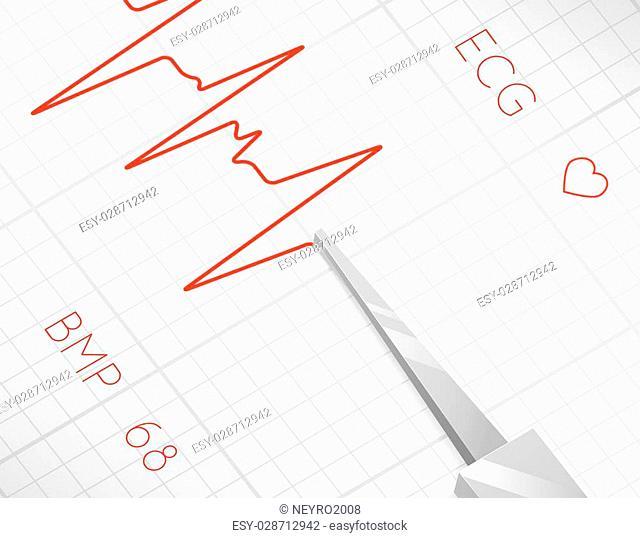 Heart beats cardiogram process. Health pulse, graph heartbeat, medicine and life, vector illustration