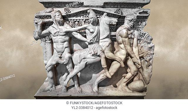 "Close up of a end of a Roman relief sculpted Hercules sarcophagus with kline couch lid, """"Columned Sarcophagi of Asia Minor'style typical of Sidamara"