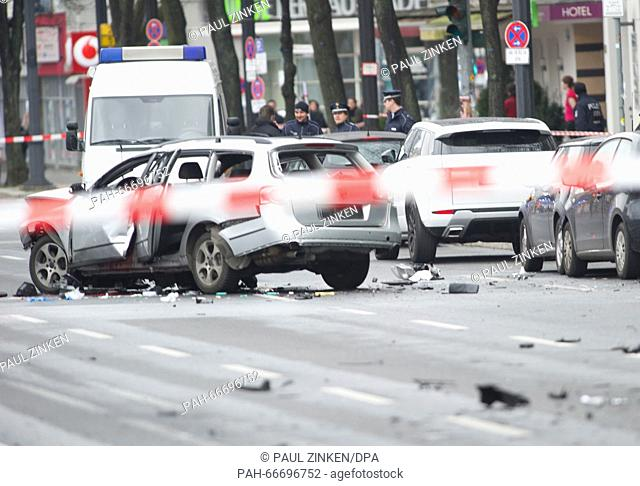 A damaged car on Bismarckstrasse in Berlin, Germany, 15 March 2016. The driver died when an explosion occurred in the vehicle while it was moving