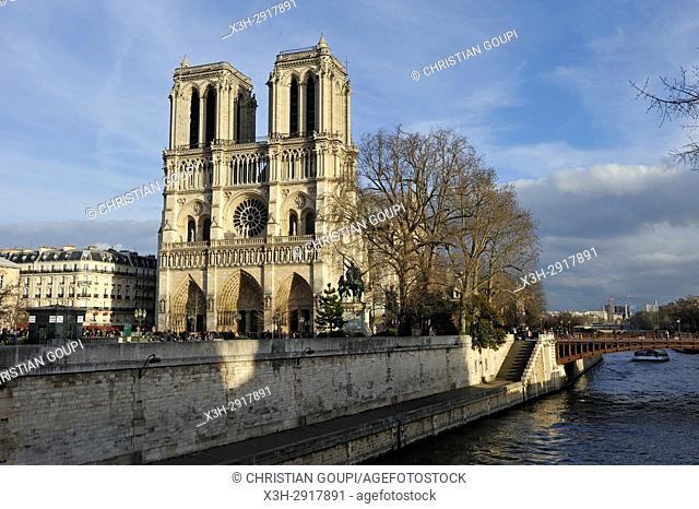 Notre-Dame Cathedral and Seine River, Paris, France, Europe