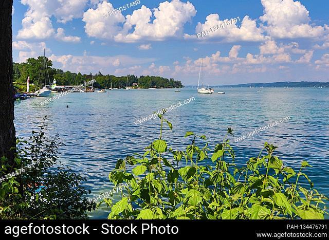 District of Starnberg, Germany August 01, 2020: Impressions Starnberger See - 2020 Tutzing, Starnberger See, Fuenfseenland, Bavaria, Upper Bavaria