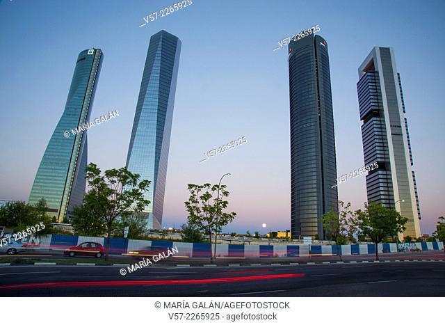Four Towers, night view. Madrid, Spain