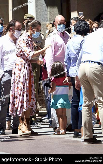 King Felipe VI of Spain, Queen Letizia of Spain visit Soria on July 15, 2020 in Soria, Spain