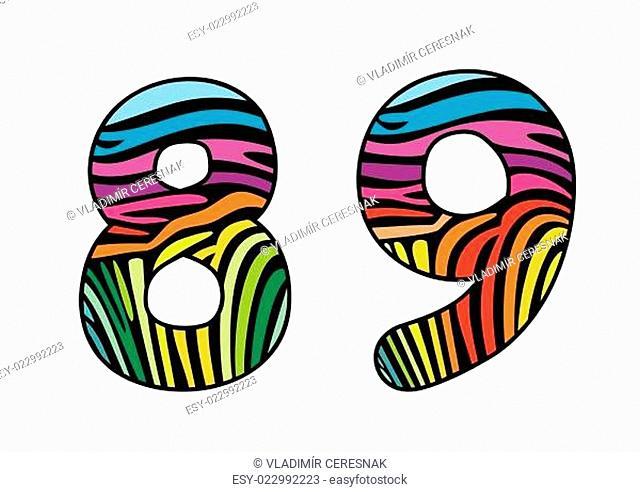 Background skin zebra shaped number sight and nine