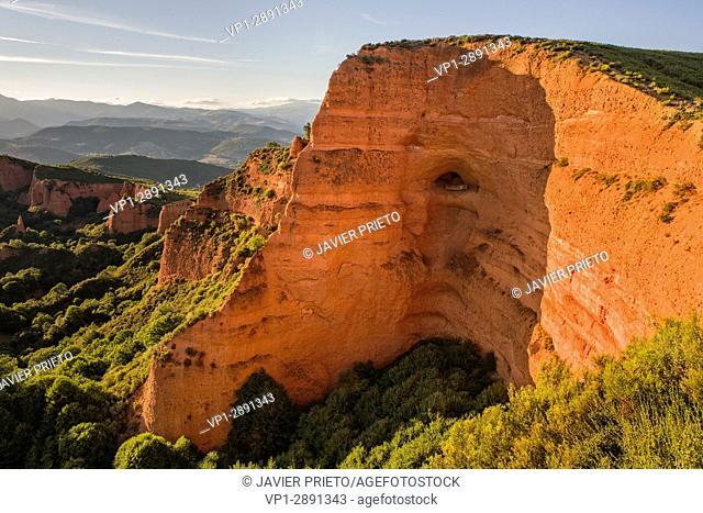 Remains of the Roman mining of Las Médulas seen at sunset from the Mirador de Orellán. Las Médulas Natural Monument. World Heritage of UNESCO